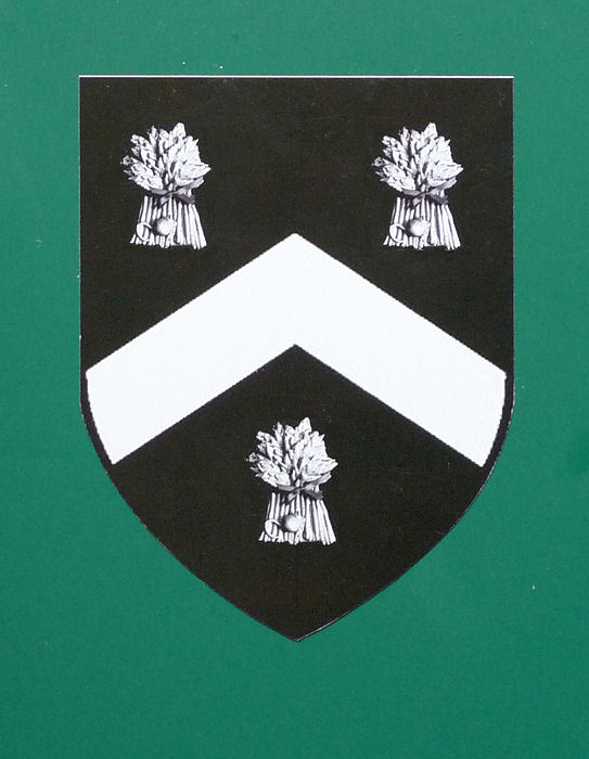 Field arms 1558 sable, chevron & three garbs argent